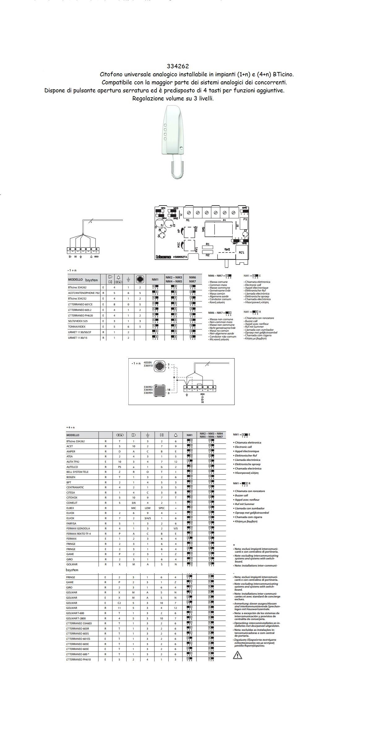 Schemi Elettrici Citofono Bticino : Citofono bticino universale analogico art