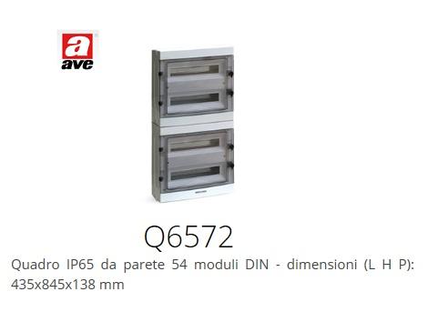 Quadro elettrico ave 72 moduli din 4x18 q6572 ip65 da parete for Quadro esterno 72 moduli